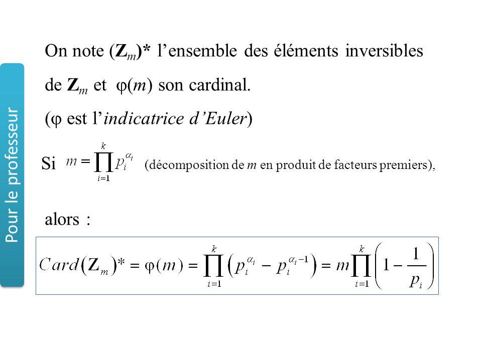 On note (Z m )* l'ensemble des éléments inversibles de Z m et  (m) son cardinal. (  est l'indicatrice d'Euler) alors : Si (décomposition de m en pro