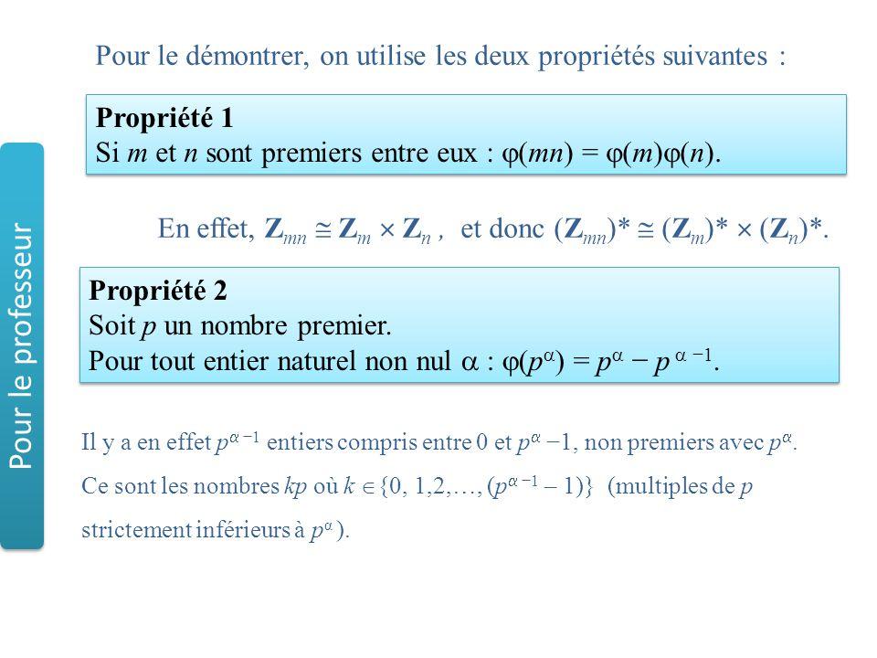 Propriété 2 Soit p un nombre premier. Pour tout entier naturel non nul  :  (p  ) = p  − p  −1. Propriété 2 Soit p un nombre premier. Pour tout en