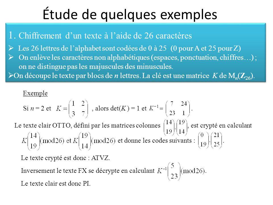 Étude de quelques exemples 1. Chiffrement d'un texte à l'aide de 26 caractères  Les 26 lettres de l'alphabet sont codées de 0 à 25 (0 pour A et 25 po