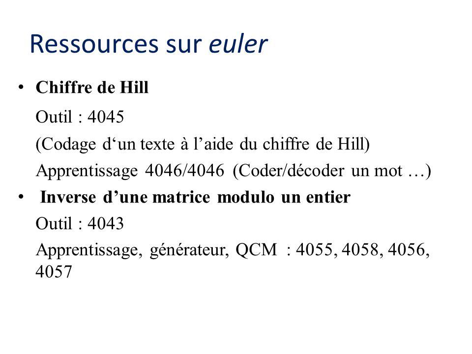 Ressources sur euler Chiffre de Hill Outil : 4045 (Codage d'un texte à l'aide du chiffre de Hill) Apprentissage 4046/4046 (Coder/décoder un mot …) Inverse d'une matrice modulo un entier Outil : 4043 Apprentissage, générateur, QCM : 4055, 4058, 4056, 4057