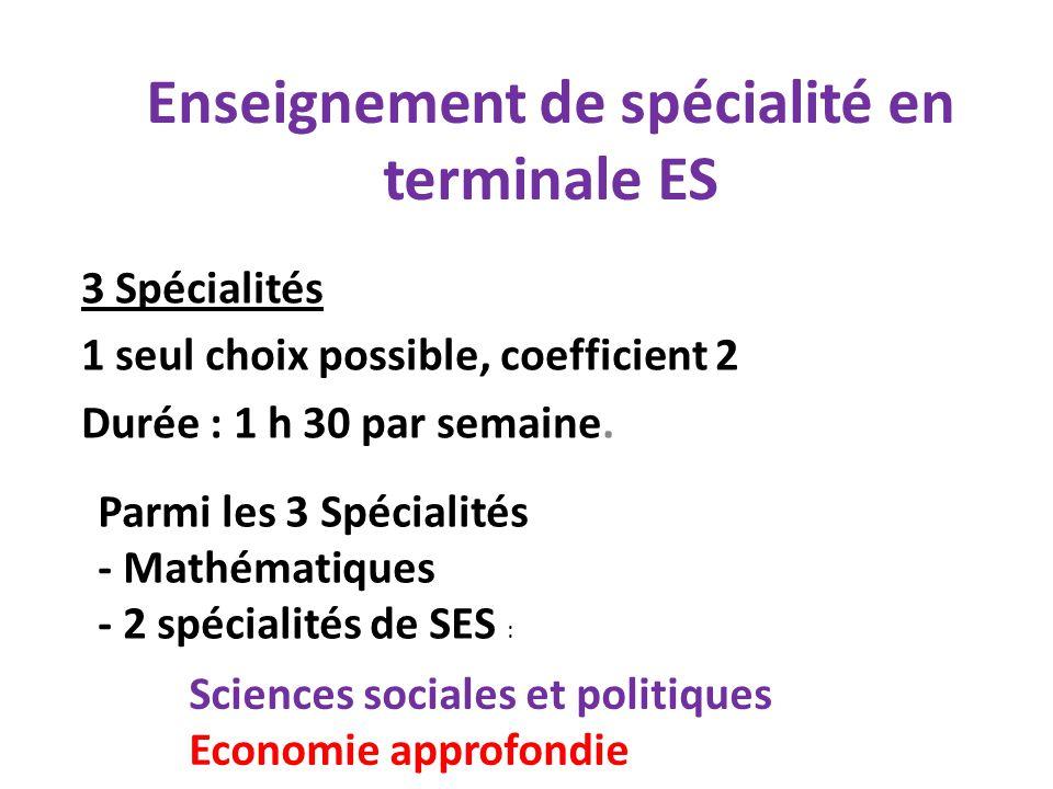 Enseignement de spécialité en terminale ES 3 Spécialités 1 seul choix possible, coefficient 2 Durée : 1 h 30 par semaine. Parmi les 3 Spécialités - Ma