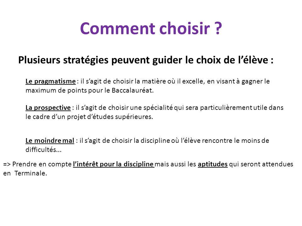 Comment choisir ? Plusieurs stratégies peuvent guider le choix de l'élève : Le pragmatisme : il s'agit de choisir la matière où il excelle, en visant