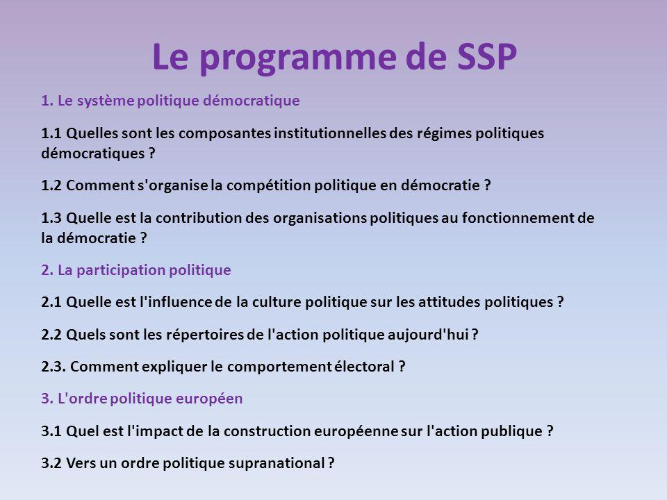 Le programme de SSP 1. Le système politique démocratique 1.1 Quelles sont les composantes institutionnelles des régimes politiques démocratiques ? 1.2
