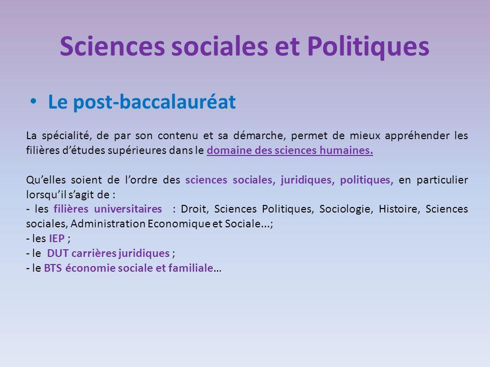Sciences sociales et Politiques Le post-baccalauréat La spécialité, de par son contenu et sa démarche, permet de mieux appréhender les filières d'études supérieures dans le domaine des sciences humaines.