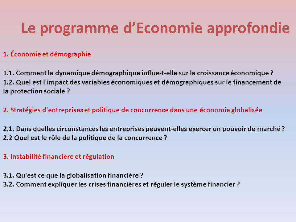 Le programme d'Economie approfondie 1. Économie et démographie 1.1. Comment la dynamique démographique influe-t-elle sur la croissance économique ? 1.