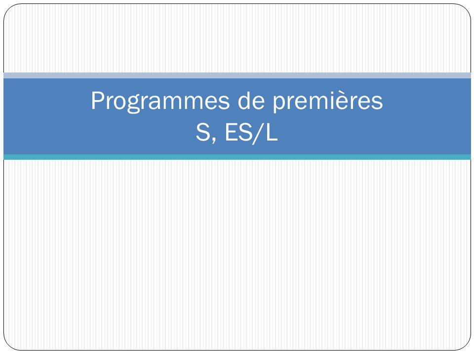 Programmes de premières S, ES/L