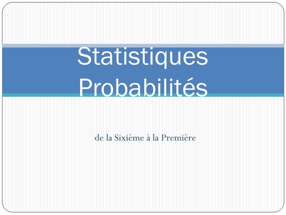 de la Sixième à la Première Statistiques Probabilités