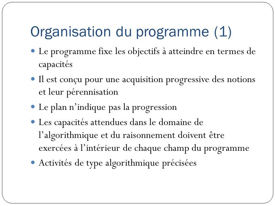 Organisation du programme (1) Le programme fixe les objectifs à atteindre en termes de capacités Il est conçu pour une acquisition progressive des not