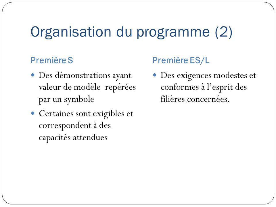 Organisation du programme (2) Première SPremière ES/L Des démonstrations ayant valeur de modèle repérées par un symbole Certaines sont exigibles et co