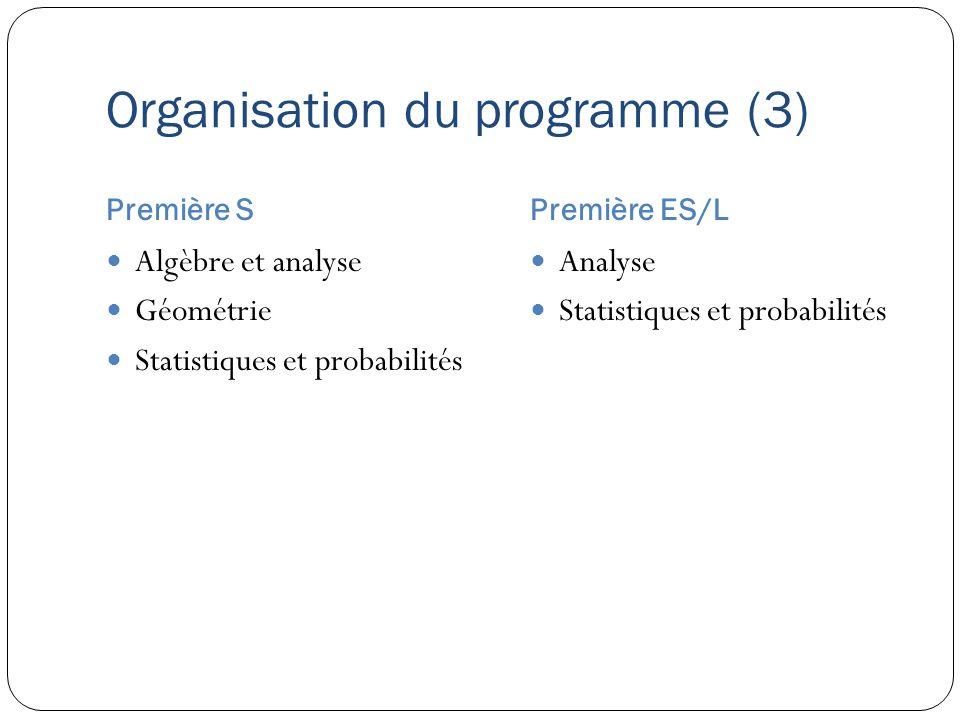 Organisation du programme (3) Première SPremière ES/L Algèbre et analyse Géométrie Statistiques et probabilités Analyse Statistiques et probabilités