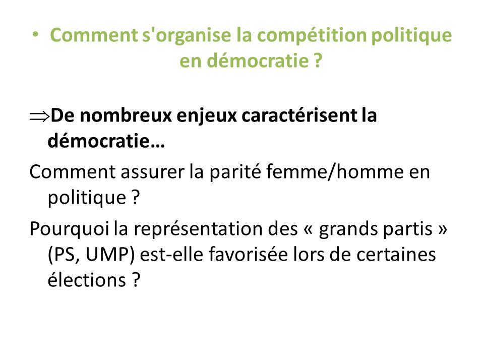 Comment s organise la compétition politique en démocratie .