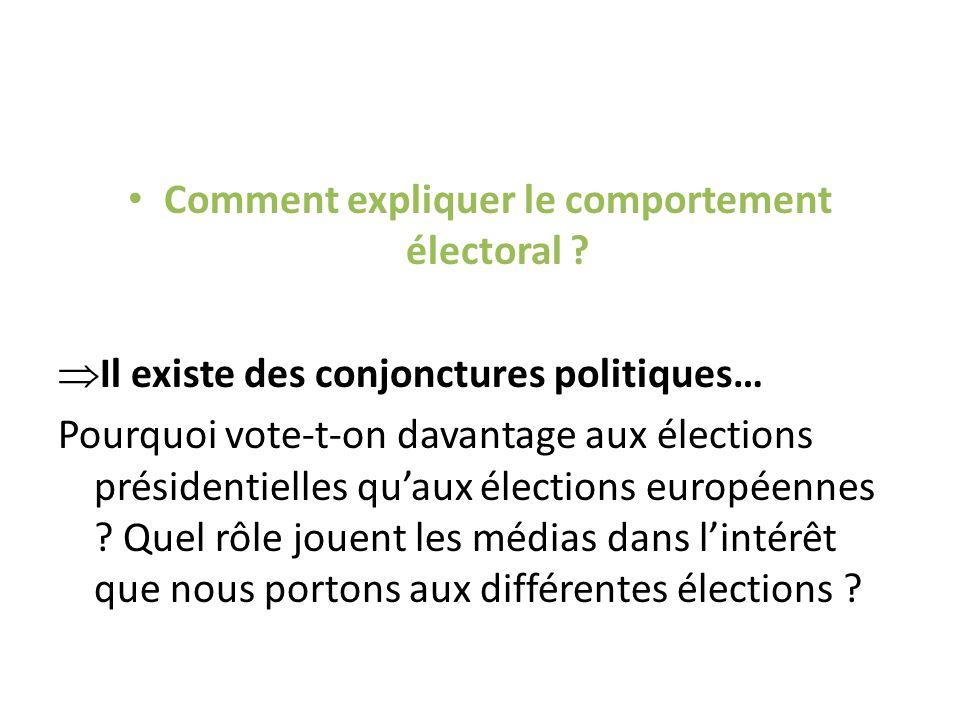 Comment expliquer le comportement électoral .