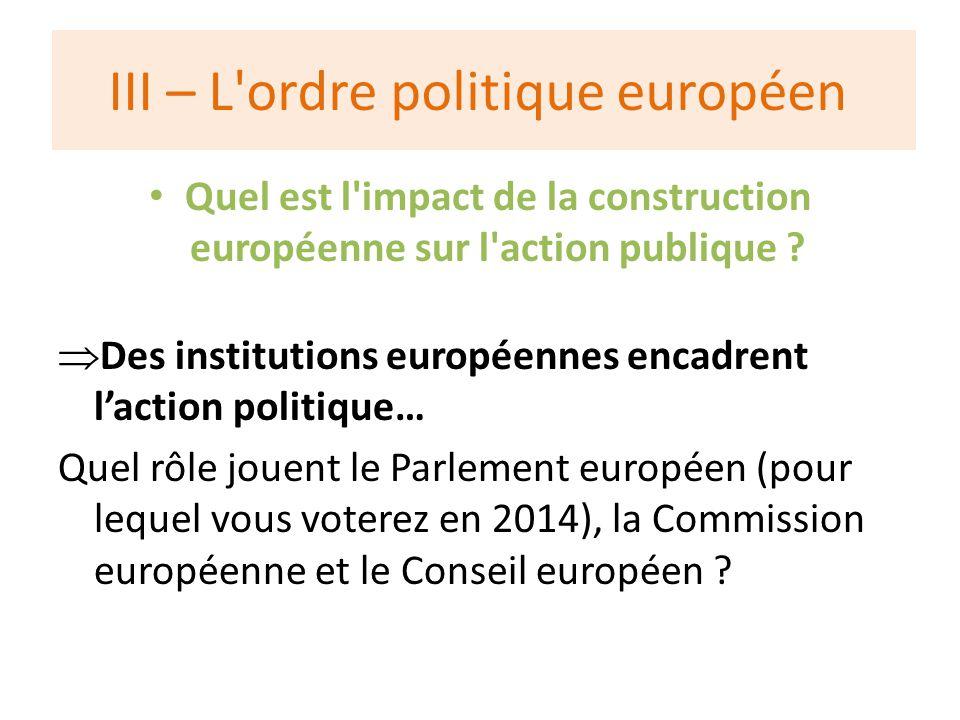 III – L ordre politique européen Quel est l impact de la construction européenne sur l action publique .