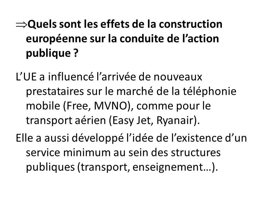  Quels sont les effets de la construction européenne sur la conduite de l'action publique .