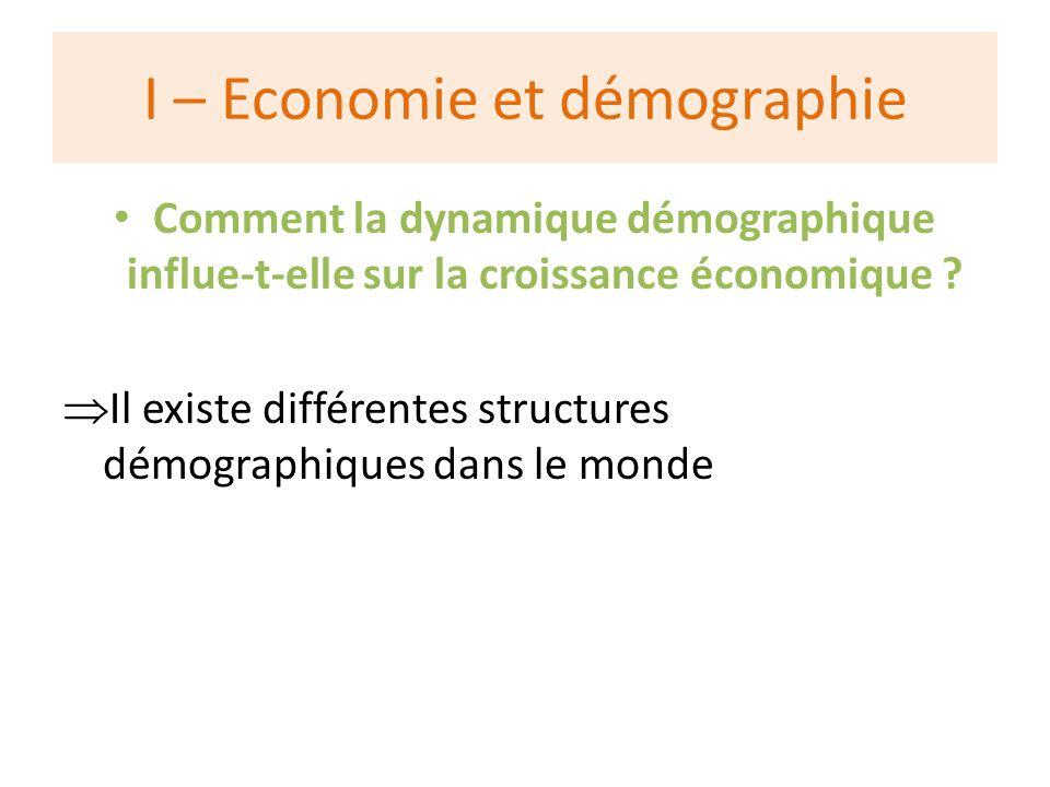 I – Economie et démographie Comment la dynamique démographique influe-t-elle sur la croissance économique .