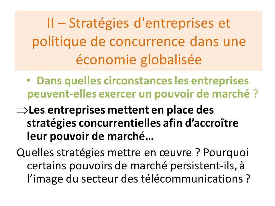 II – Stratégies d entreprises et politique de concurrence dans une économie globalisée Dans quelles circonstances les entreprises peuvent-elles exercer un pouvoir de marché .
