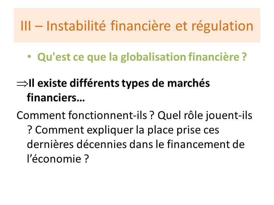 III – Instabilité financière et régulation Qu est ce que la globalisation financière .