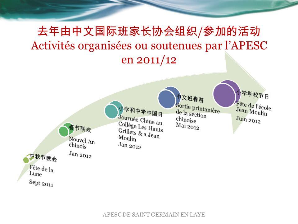 去年由中文国际班家长协会组织 / 参加的活动 Activités organisées ou soutenues par l'APESC en 2011/12 APESC DE SAINT GERMAIN EN LAYE