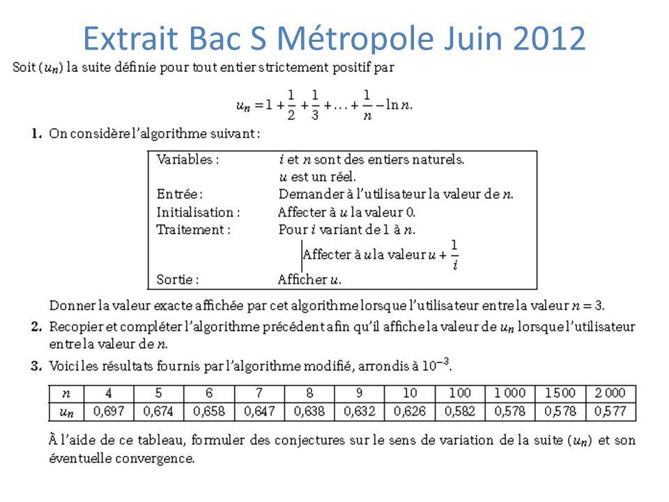 Extrait Bac S Métropole Juin 2012