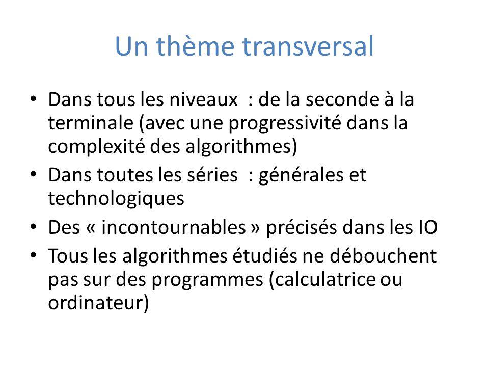 Un thème transversal Dans tous les niveaux : de la seconde à la terminale (avec une progressivité dans la complexité des algorithmes) Dans toutes les séries : générales et technologiques Des « incontournables » précisés dans les IO Tous les algorithmes étudiés ne débouchent pas sur des programmes (calculatrice ou ordinateur)
