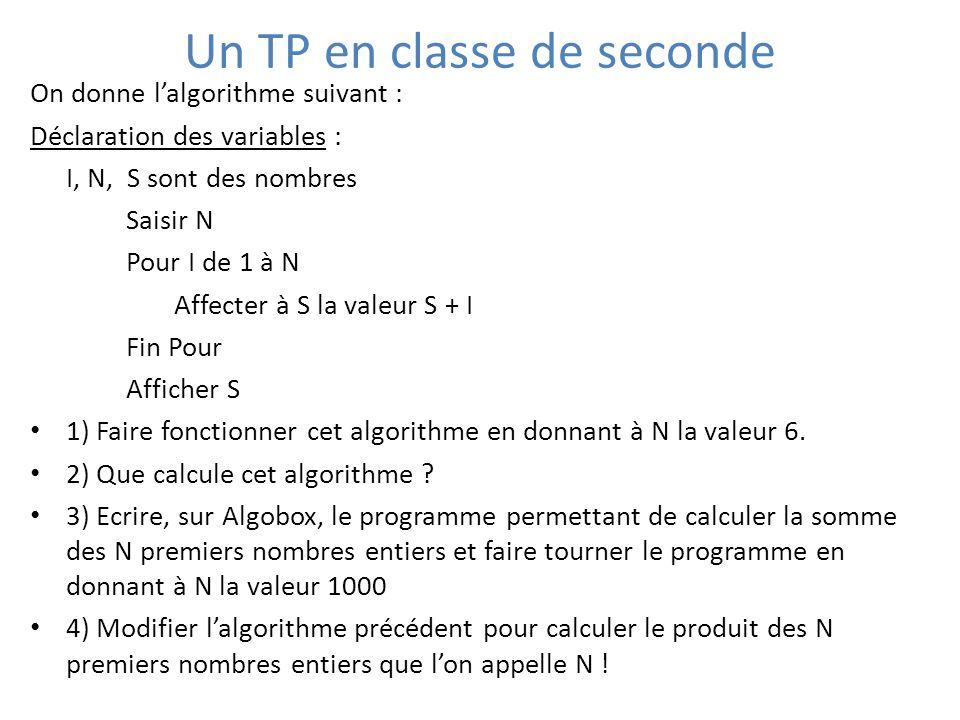 Un TP en classe de seconde On donne l'algorithme suivant : Déclaration des variables : I, N, S sont des nombres Saisir N Pour I de 1 à N Affecter à S la valeur S + I Fin Pour Afficher S 1) Faire fonctionner cet algorithme en donnant à N la valeur 6.