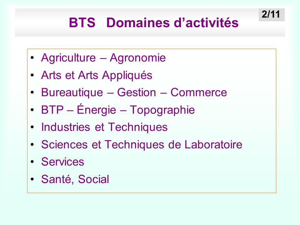 BTS Domaines d'activités Agriculture – Agronomie Arts et Arts Appliqués Bureautique – Gestion – Commerce BTP – Énergie – Topographie Industries et Tec