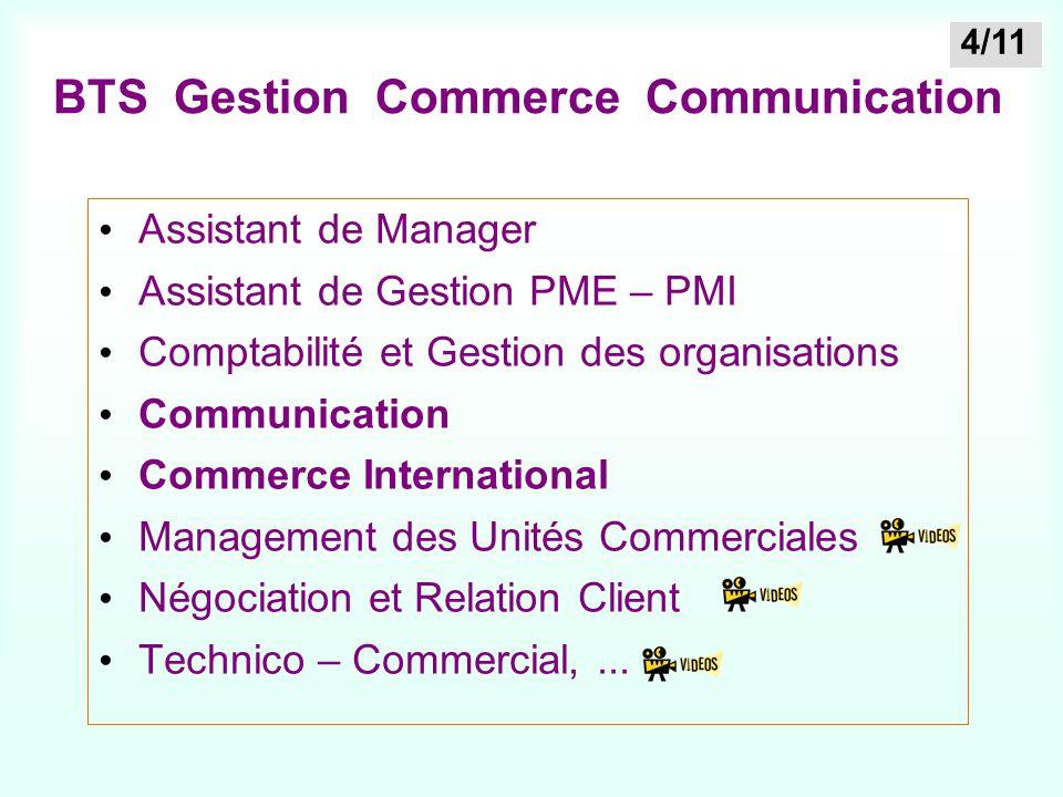 BTS Gestion Commerce Communication Assistant de Manager Assistant de Gestion PME – PMI Comptabilité et Gestion des organisations Communication Commerc