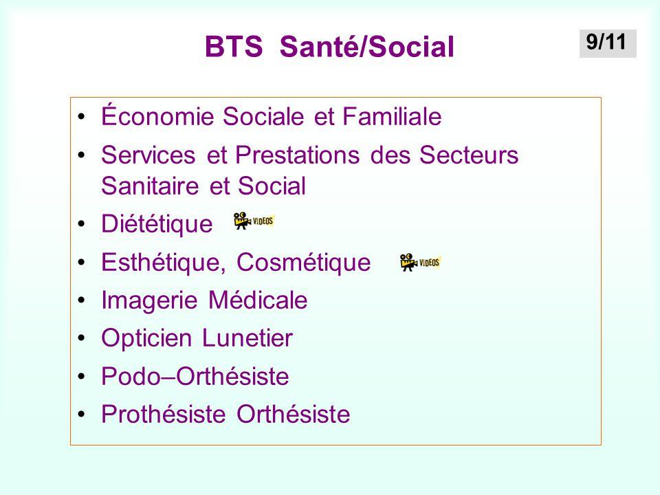 BTS Santé/Social Économie Sociale et Familiale Services et Prestations des Secteurs Sanitaire et Social Diététique Esthétique, Cosmétique Imagerie Méd
