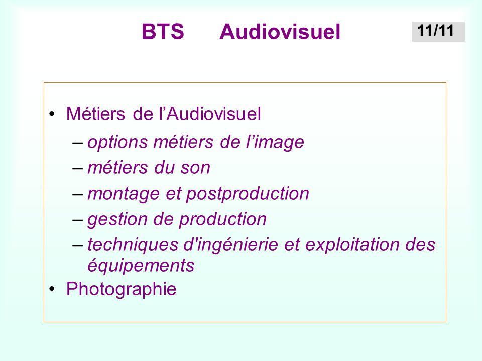 BTS Audiovisuel Métiers de l'Audiovisuel –options métiers de l'image –métiers du son –montage et postproduction –gestion de production –techniques d'i