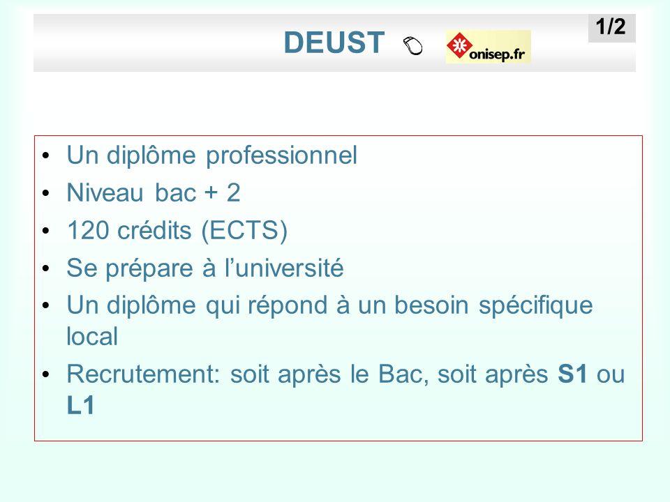 DEUST Un diplôme professionnel Niveau bac + 2 120 crédits (ECTS) Se prépare à l'université Un diplôme qui répond à un besoin spécifique local Recrutem