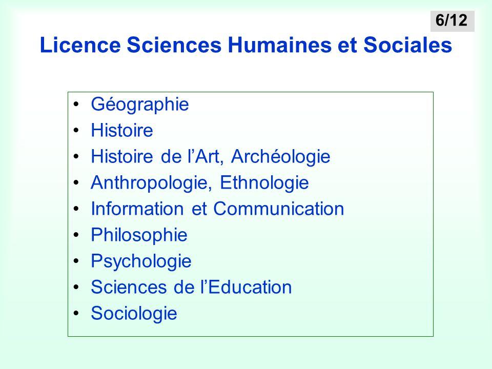 Licence Sciences Humaines et Sociales Géographie Histoire Histoire de l'Art, Archéologie Anthropologie, Ethnologie Information et Communication Philos