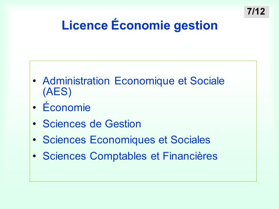 Licence Économie gestion Administration Economique et Sociale (AES) Économie Sciences de Gestion Sciences Economiques et Sociales Sciences Comptables