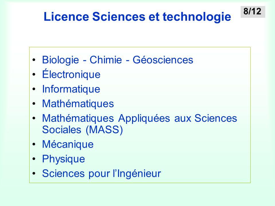 Licence Sciences et technologie Biologie - Chimie - Géosciences Électronique Informatique Mathématiques Mathématiques Appliquées aux Sciences Sociales