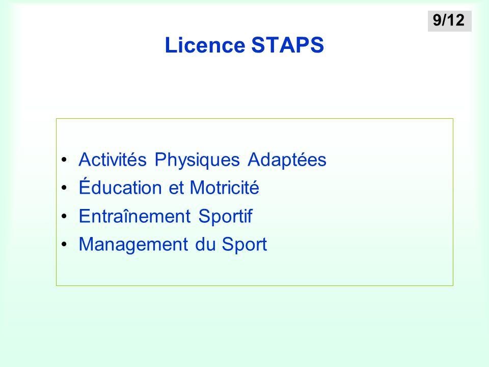 Licence STAPS Activités Physiques Adaptées Éducation et Motricité Entraînement Sportif Management du Sport 9/12