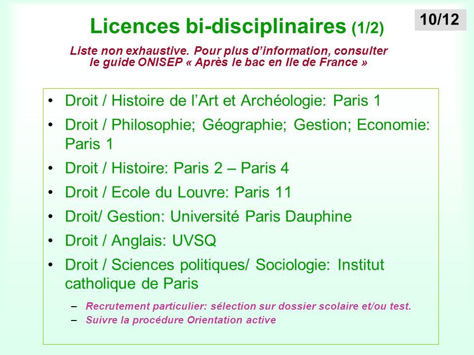 Licences bi-disciplinaires (1/2) Droit / Histoire de l'Art et Archéologie: Paris 1 Droit / Philosophie; Géographie; Gestion; Economie: Paris 1 Droit /
