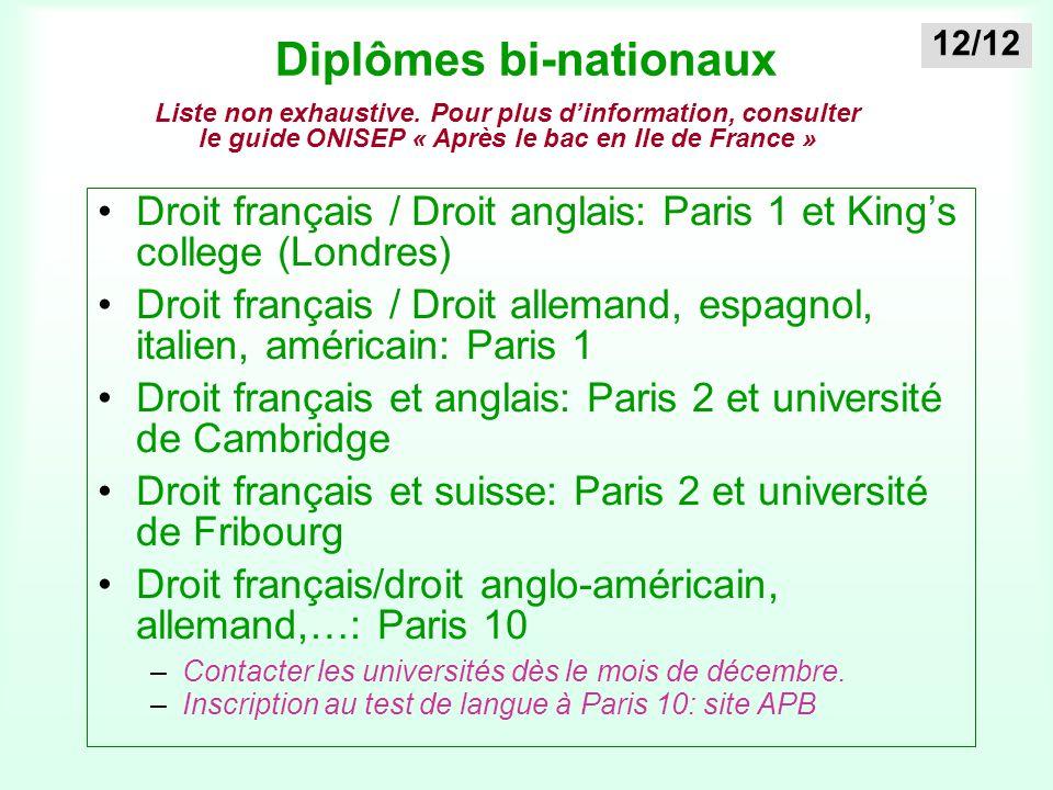 Diplômes bi-nationaux Droit français / Droit anglais: Paris 1 et King's college (Londres) Droit français / Droit allemand, espagnol, italien, américai
