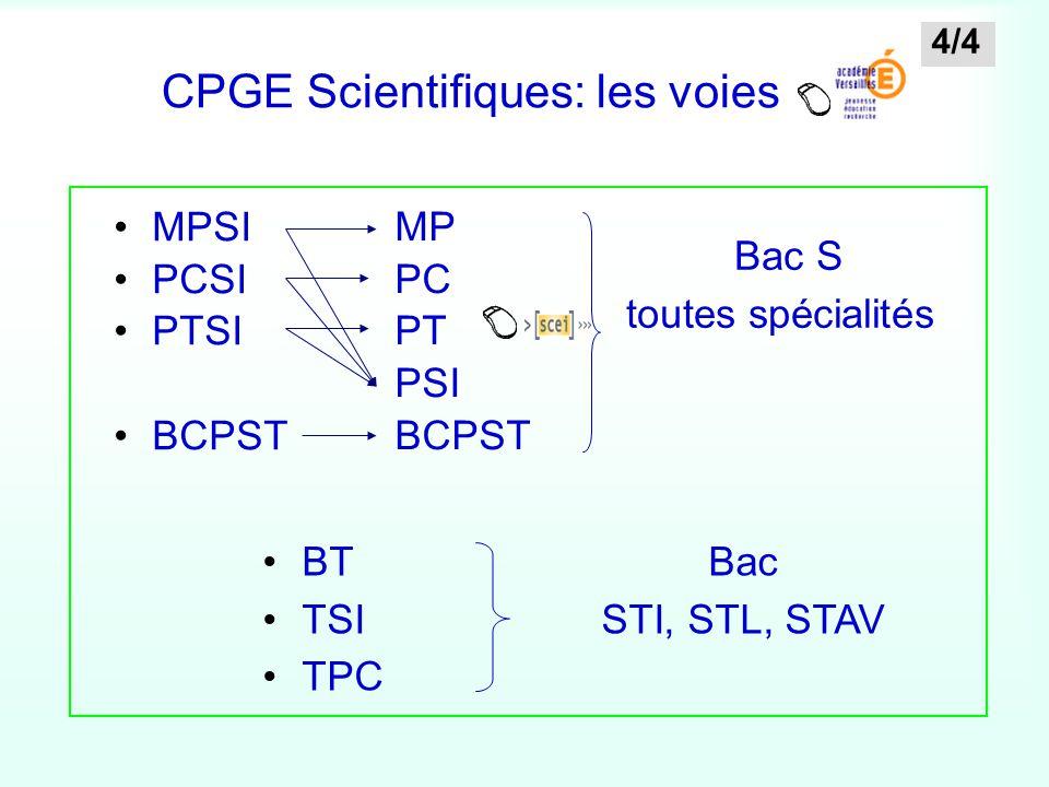 CPGE Scientifiques: les voies MPSI PCSI PTSI BCPST BT TSI TPC Bac S toutes spécialités Bac STI, STL, STAV MP PC PT PSI BCPST 4/4