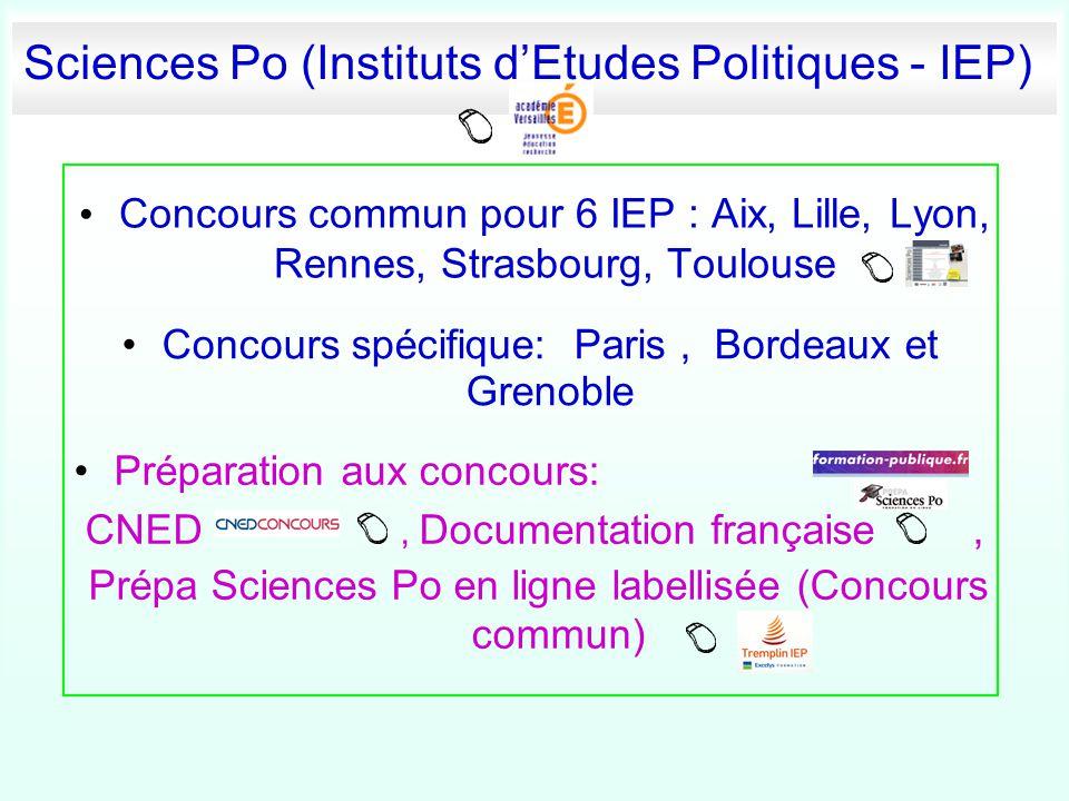 Sciences Po (Instituts d'Etudes Politiques - IEP) Concours commun pour 6 IEP : Aix, Lille, Lyon, Rennes, Strasbourg, Toulouse Concours spécifique: Par