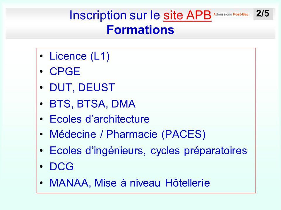Inscription sur le site APB Formationssite APB Licence (L1) CPGE DUT, DEUST BTS, BTSA, DMA Ecoles d'architecture Médecine / Pharmacie (PACES) Ecoles d