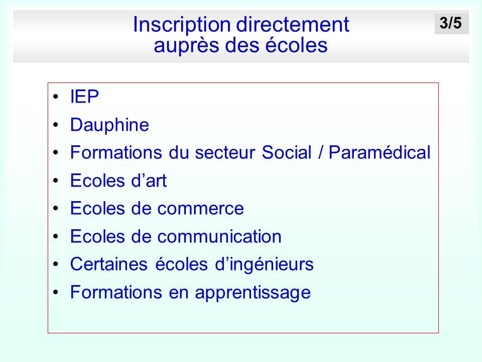 Inscription directement auprès des écoles IEP Dauphine Formations du secteur Social / Paramédical Ecoles d'art Ecoles de commerce Ecoles de communicat
