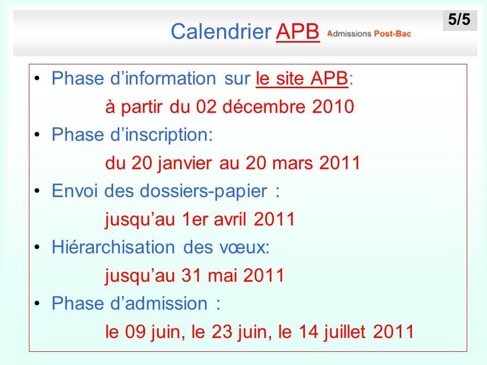 Calendrier APBAPB Phase d'information sur le site APB:le site APB à partir du 02 décembre 2010 Phase d'inscription: du 20 janvier au 20 mars 2011 Envo