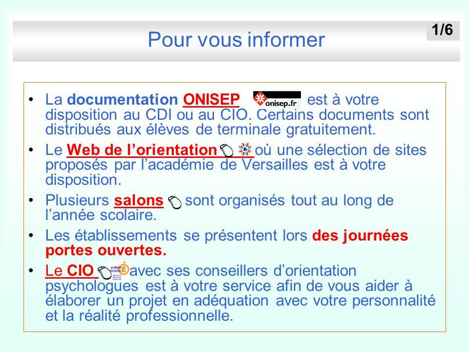 Pour vous informer La documentation ONISEP est à votre disposition au CDI ou au CIO. Certains documents sont distribués aux élèves de terminale gratui