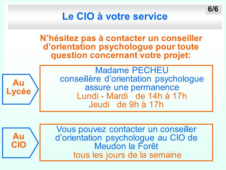 Le CIO à votre service N'hésitez pas à contacter un conseiller d'orientation psychologue pour toute question concernant votre projet: Vous pouvez cont