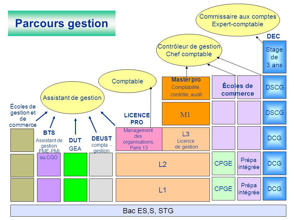 Prépa intégrée L1 CPGE Prépa intégrée L2 CPGE L3 Licence de gestion DCG Management des organisations, Paris 13 Écoles de gestion et de commerce ou CGO