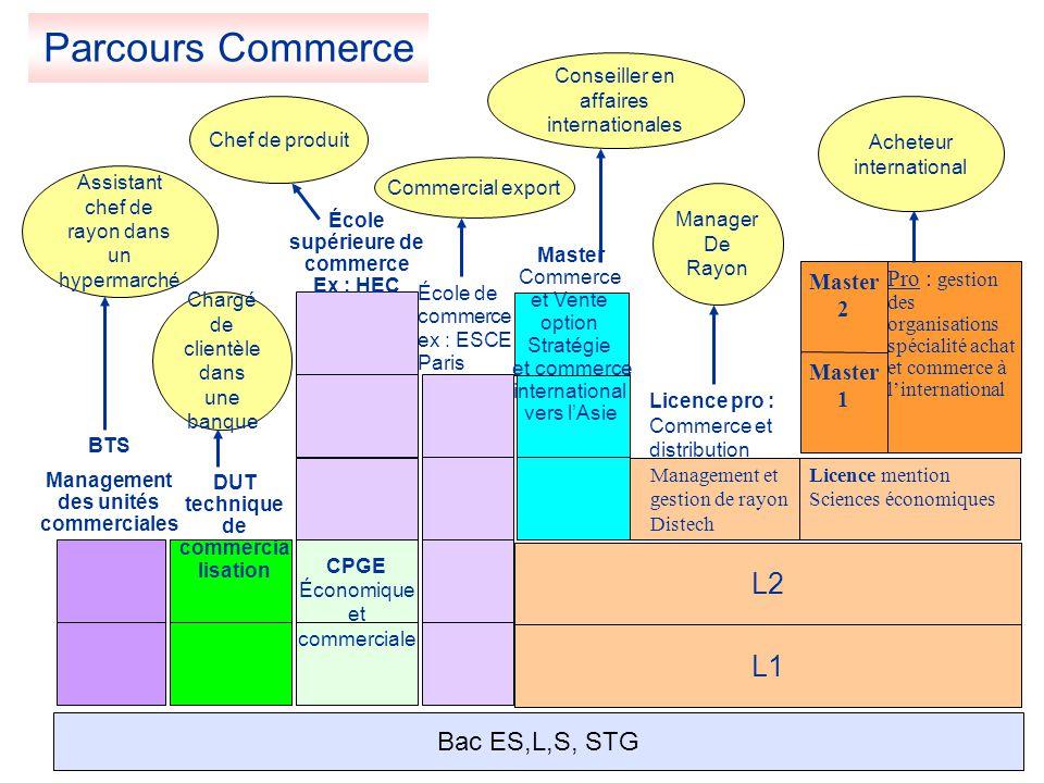L1 L2 Licence mention Sciences économiques Management et gestion de rayon Distech Master 1 Pro : gestion des organisations spécialité achat et commerc