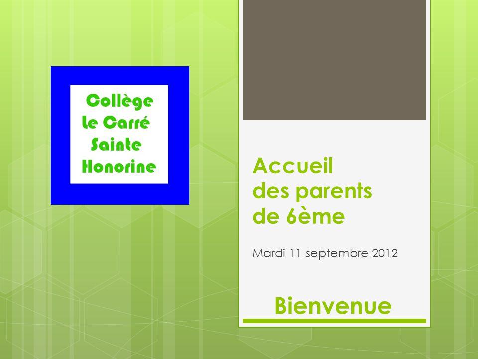 Accueil des parents de 6ème Mardi 11 septembre 2012 Bienvenue
