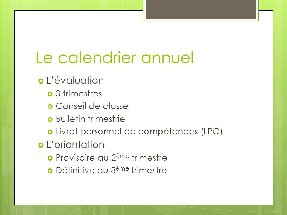 Le calendrier annuel  L'évaluation  3 trimestres  Conseil de classe  Bulletin trimestriel  Livret personnel de compétences (LPC)  L'orientation  Provisoire au 2 ème trimestre  Définitive au 3 ème trimestre
