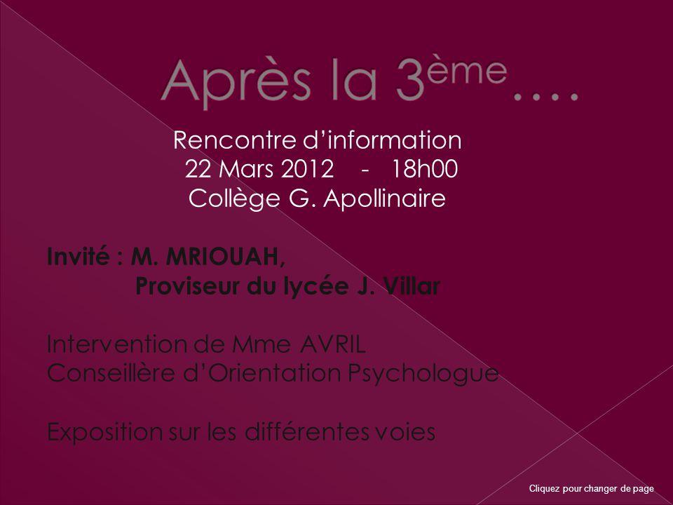 Rencontre d'information 22 Mars 2012 - 18h00 Collège G.