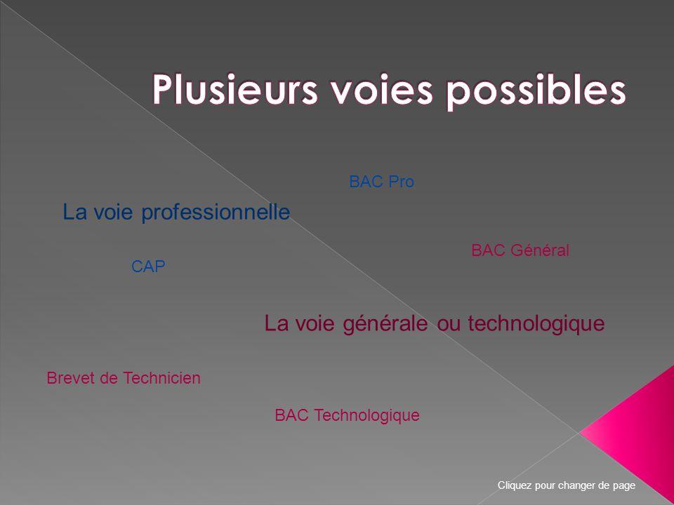La voie professionnelle La voie générale ou technologique BAC Pro CAP BAC Général BAC Technologique Brevet de Technicien Cliquez pour changer de page