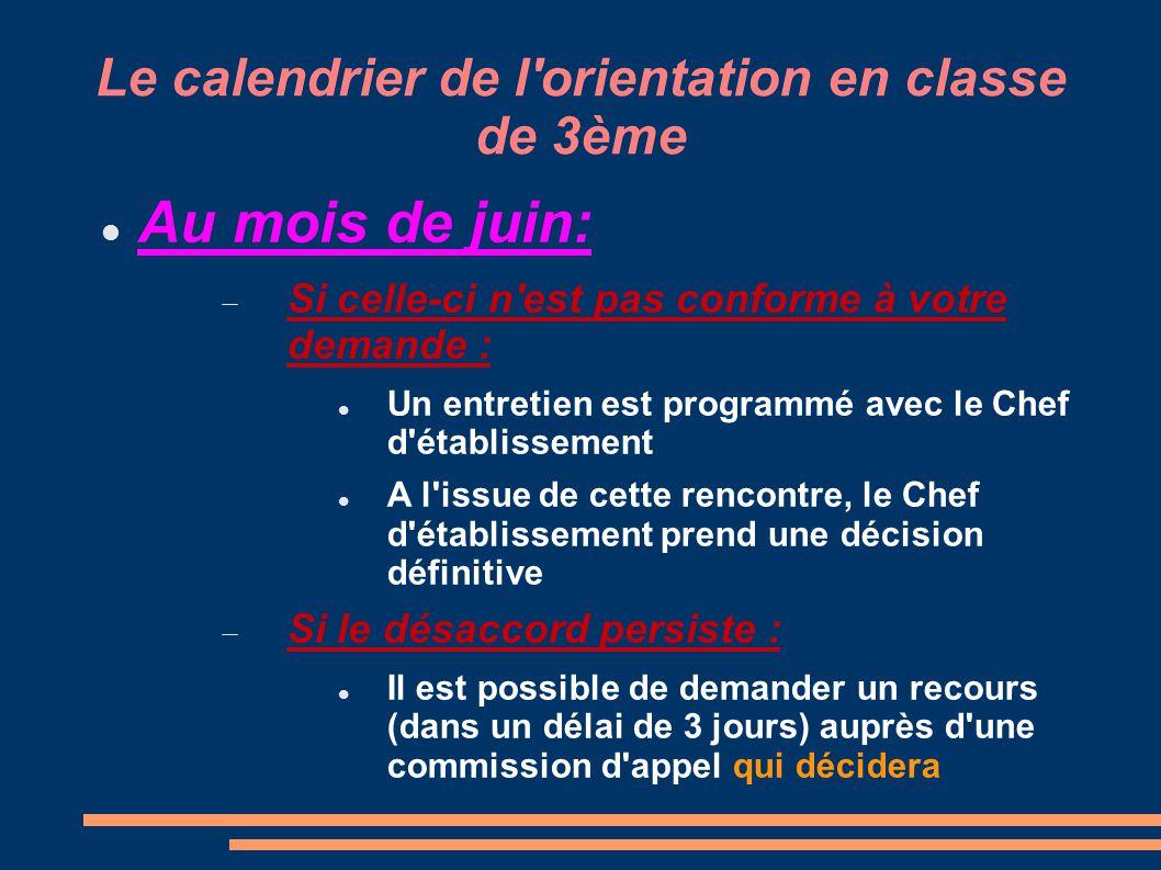 Le calendrier de l orientation en classe de 3ème Personnes ressources :  Le professeur principal de la classe  Le C.O.P.